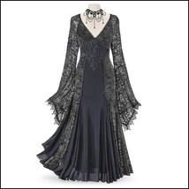 Renassiance Black Sheer Layered Lace Brocade Long Sleeve Giornea Overdr... - $116.95