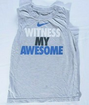 Nike child size 5 tank top gray athletic Witness my Awesome logo blue white - $9.90