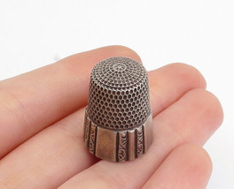 925 Sterling Silver - Vintage Petite Etched Swirl Detail Sewing Thimble ... - $27.12