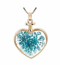 2 Pieces Of Fashion Sky Blue Leaves Specimens Pendant For Heart-Shaped Necklace