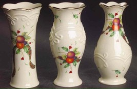"Set Of 3 ""Lenox"" 5"" Bud Vases Motifs ""Holiday Tartan"" NIB NEW - $34.65"