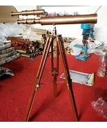 Vintage Brass Marine Ship Telescope With Antique Wooden Base Tripod Deco... - $48.02