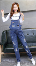 Maternity Trousers Pregnant Denim Overalls Belly Pants Adjustable Plus J... - $33.99