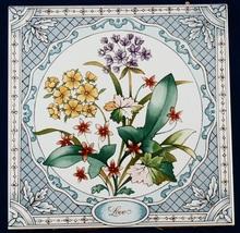 3 1981 Avon Love Ceramic Floral Tiles 6x6 Cinquefoil Gillyflower Sorrel ... - $7.50