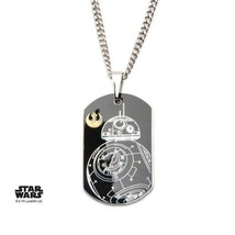 Disney Star Wars Stainless Steel Episode 7 BB-8 Dog Tag Pendant with Chain - $46.00