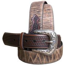 "32"" Roper Mens Basketweave Top Grain Leather Belt Bark Design 1 1/2"" Wid... - $53.42"