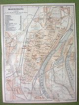GERMANY Magdeburg City Plan & Environs Railroads - 1904 MAP ORIGINAL Bae... - $5.07