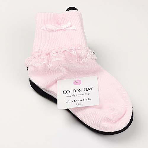 COTTON DAY 3 Pairs Toddler Baby & (M: Shoe Size 10-13|Pink White Black) image 3