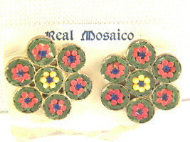 Mosaic Earrings Real Mosaico Green Red Yellow blue Clip Vintage Earrings - $15.29