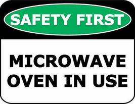 2 Count Top Shelf Novelties Safety First Microwave Oven in Use Laminated... - $12.69