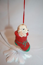 PUPPY DOG in RED STOCKING Christmas Tree Ornament Green Toe Bow Puppy Resin - $19.32