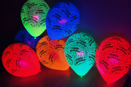 100 Pack Neon Assorted 11 inch Blacklight Reactive Latex Happy Birthday ... - $44.95