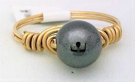 Hematite Gemstone Bead Gold Wire Wrap Ring sz.5 - $12.28