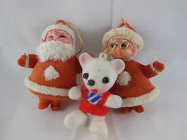 """Vintage 4"""" Red Velvet plastic Santa Claus & Mrs + 2.5"""" Teddy Christmas Ornament - $14.84"""