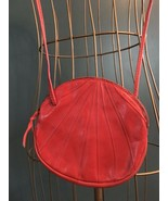 Vintage Red Italian Leather Round Shell Crossbody Purse  - $29.95