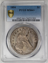 1854 $1 Seated Liberty Dollar PCGS MS64+ - $29,000.00