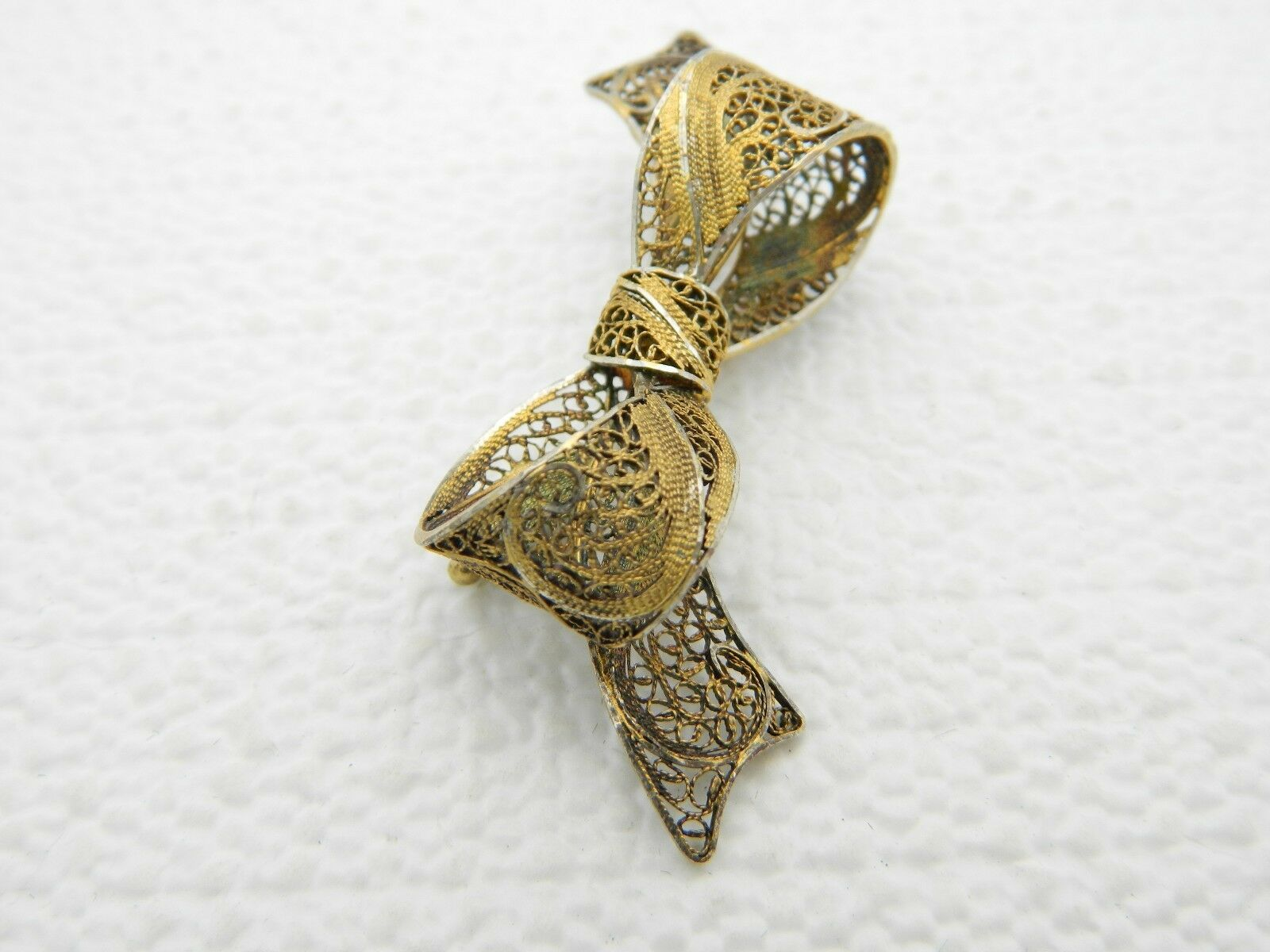 Vintage SAFIR Portugal Signed Gold Tone Guilloche Bow Pin Brooch