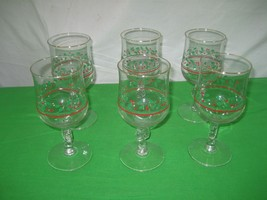 Set of 6 Clear Crystal Christmas Holly Berry Bow on Pedestal Wine Glasses Mugs - $13.98