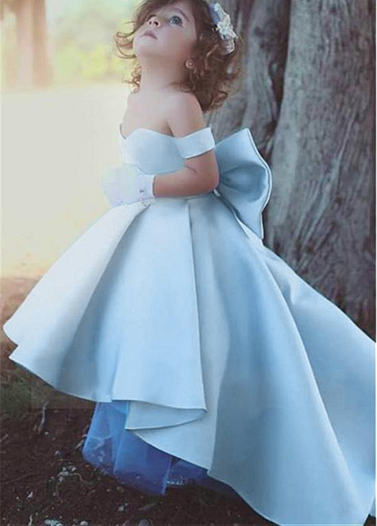 Primary image for Lovely Satin Off-the-shoulder Hi-lo Length Ball Gown Flower Girl Dress W Bowknot