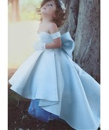 Lovely Satin Off-the-shoulder Hi-lo Length Ball Gown Flower Girl Dress W... - $167.89 CAD