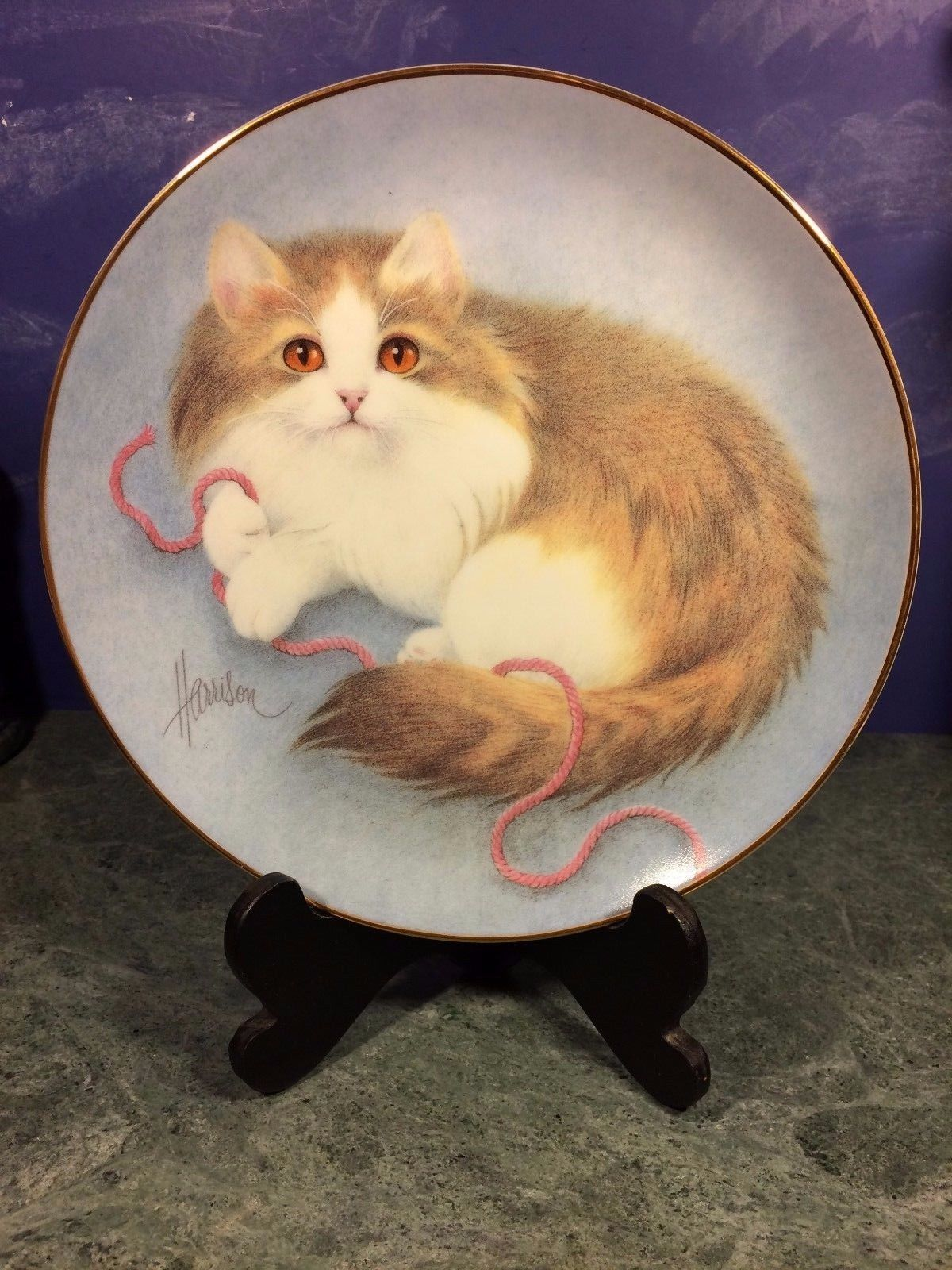 HAMILTON Collection CURIOUS KITTEN Plate ALL WOUND UP (1990) Bob Harrison + COA!
