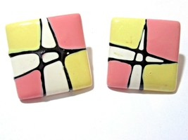 Pink Yellow Black White Vintage 1980'S Abstract Design Pierced Earrings Lucite - $18.00