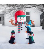 NEW 6ft Christmas Inflatable Penguins Making Snowman Lighted Yard Decor ... - $96.02