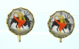 Matador Bull Glass Scene Cabochon Gold Tone Screw-On Earring Vintage - $24.74
