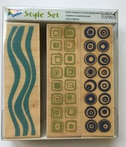 Rubber Stampede Border Retro Pattern Set 3 Mounted Stamps #3372 NEW - $9.89