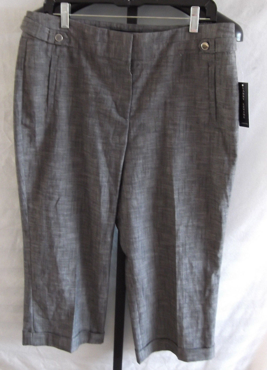 Primary image for NWT Larry Levine Black Cotton/Polyester Dress Capri Pants Misses Size 12