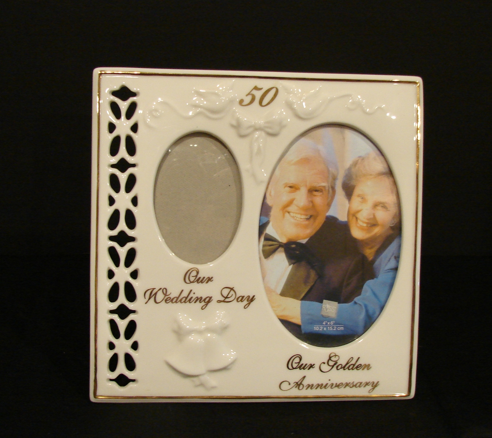 50th Wedding Anniversary Gift - Golden Double Then-and-Now Frame by Russ