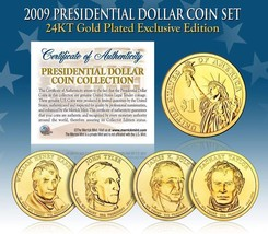 2009 USA MINT GOLD PRESIDENTIAL $1 DOLLAR 4 COINS SET Certified Gift Box - $21.03