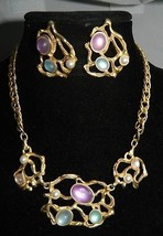 VTG Gold Tone Modern Abstract Multi Color Plastic Cabochon Necklace/ Ear... - $74.25