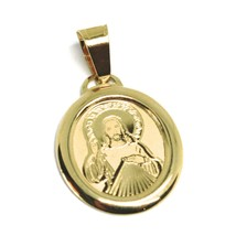 Pendant Medal Yellow Gold 750 18K, Sacred Heart Jesus, Oval - $108.54