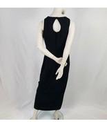 Maggy London Black Sheath Dress Women Size 8 Long Front Slit Maxi Sleeve... - $31.68