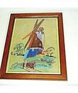 Dutch Windmill Wall Art Long Stitch Needlepoint Netherlands Framed 1930s... - $59.39