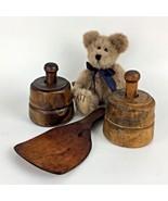 Primitive Amish Wood Butter Mold Paddle Set Wheat Flower Décor Vtg Antiq... - $293.03