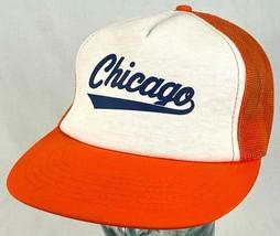 CHICAGO Hat-Orange-Mesh-Snapback-Vtg - $20.56