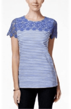 Charter Club Women's Core Crochet Top Blue White Striped Size XS - NWT - $14.25