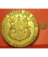 Massive 105mm X 9mm Thick Solid Brass U.S. Air Force Civil Engineering P... - $83.78