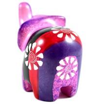 SMOLArt Hand Carved Soapstone Pink Red Black Purple Elephant Figurine Made Kenya image 2