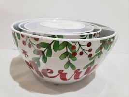 Jingles & Joy Christmas Holly & Berries Melamine Mixing Bowls Set of 3 - $39.99