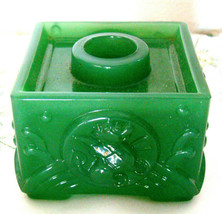 IMPERIAL GLASS ASIAN GREEN CATHAY JADE CANDLEHOLDER DRAGONS DESK PAPERWE... - $18.49