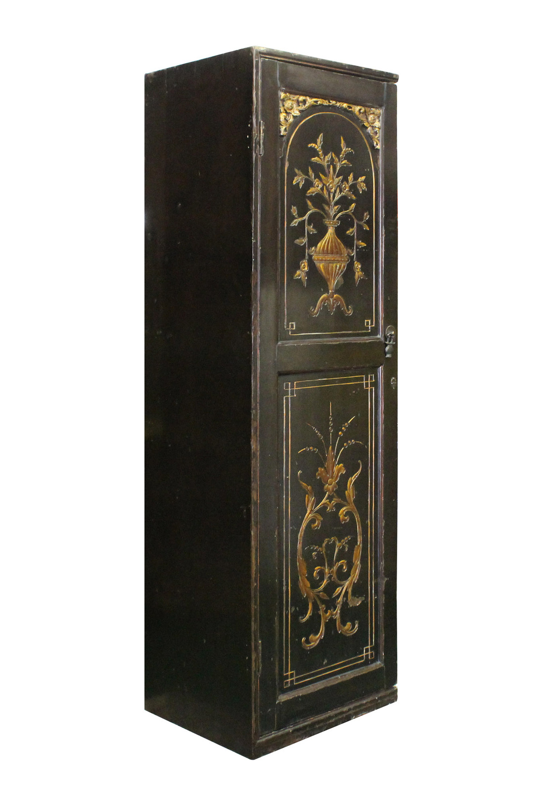 Primary image for Chinese Vintage Golden Graphic Dresser Cabinet cs1465