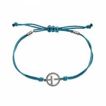 "NEW Emporio Armani blue bracelet EG2978 sterling silver ""EA"" logo crystal charm - $25.25"