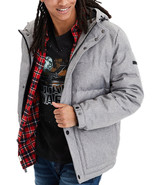 American Eagle Mens Gray Full Zip Hooded Puffer Coat Jacket Sz Large L 7... - $120.32