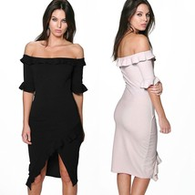 New European Women Petal Sleeve Off Shoulder Ruffles Dress High Slits Sl... - $30.60