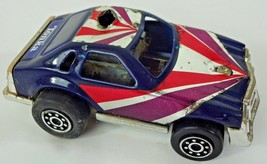 Old Tonka Push Button Friction Toy Racer White Red Blue Car Tin & Plastic Japan - $10.34