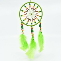 """Handcrafted 11"""" Dreamcatcher Green Yellow Red Plastic & Wood Beads Feathers"""