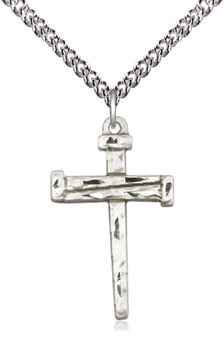 Sterling silver nail cross pendant on a 18 inch sterling silver heavy curb chain. 0013ss18hss